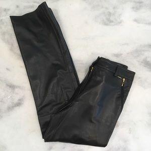 ST JOHN Black Leather Straight Wide Leg Pants EUC